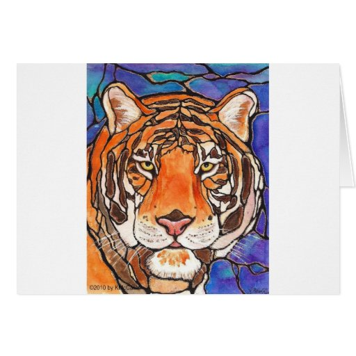 """¡""""Le Tigre"""" el arte del estilo del vitral del tigr Felicitación"""