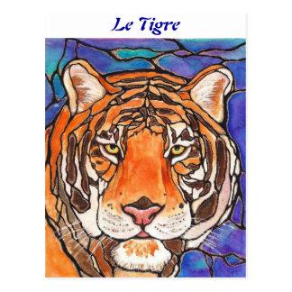 ¡ Le Tigre el arte del estilo del vitral del tigr Tarjeta Postal