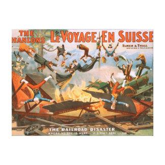 Le voyage en Suisse - el desastre del ferrocarril Impresión En Lienzo Estirada