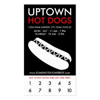 lealtad de la parte alta de los perritos calientes plantillas de tarjetas de visita