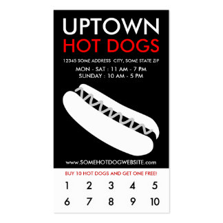 lealtad de la parte alta de los perritos calientes tarjetas de visita
