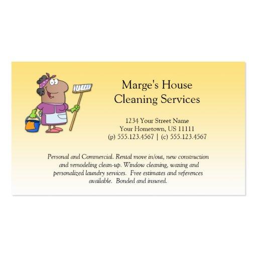 Lealtad de la señora de la limpieza de la casa del tarjetas personales