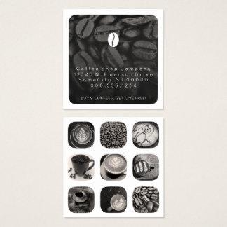 lealtad de los gramos del café tarjeta de visita cuadrada