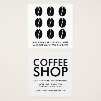 lealtad de los granos de café tarjeta de visita cuadrada