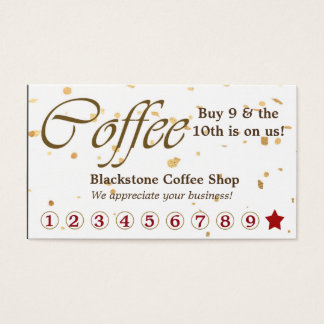 Lealtad del café del confeti del oro tarjeta de visita