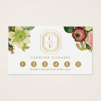 Lealtad floral del vintage del monograma del art tarjeta de negocios