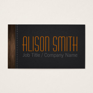 Leather and wood tarjeta de negocios