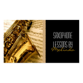 Lecciones del saxofón música tarjeta de visita d