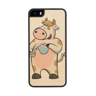 leche de consumo de la vaca funda de madera para iPhone SE/5/5s
