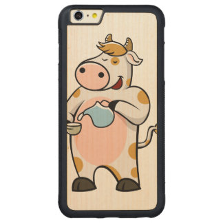 leche de consumo de la vaca funda para iPhone 6 plus de carved® de nogal