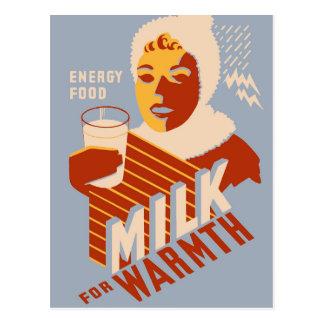 Leche - para la comida de la energía del calor postal
