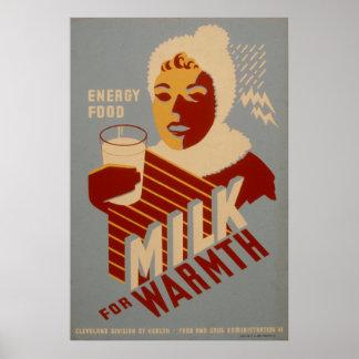 Leche para los posters 1941 de WPA del vintage de Póster