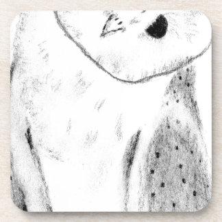 Lechuza común dibujada mano única posavasos