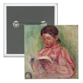 Lectura de la mujer (aceite en lona) chapa cuadrada 5 cm