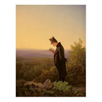 Lectura del breviario, la tarde postal