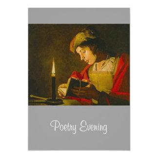 Lectura del hombre joven por luz de una vela invitación 12,7 x 17,8 cm