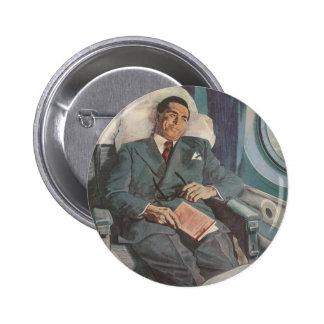 Lectura del viajero de negocios del vintage en el chapa redonda 5 cm