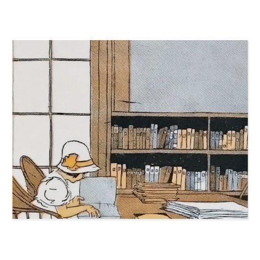 Lectura en la biblioteca postales