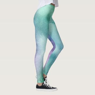 Leggings Acuarela azul púrpura de la verde menta artística