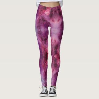 Leggings Acuarela púrpura y roja de la galaxia