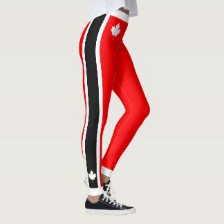 Leggings Arce canadiense en negro blanco rojo