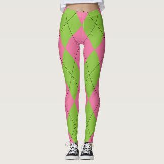 Leggings Argyle rosado y verde