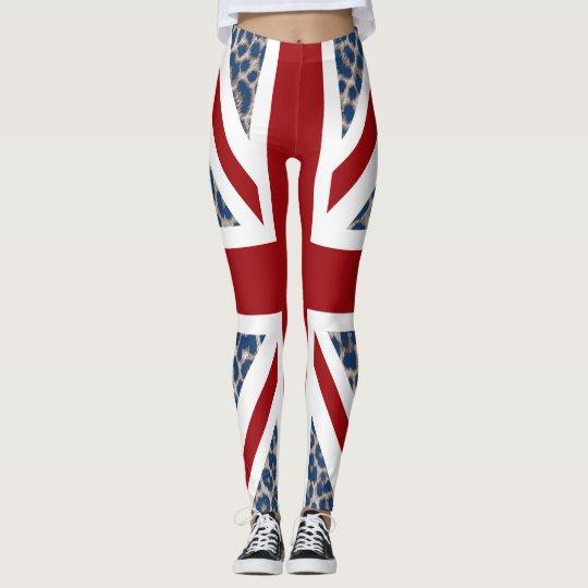 Leggings Bandera azul fresca del leopardo de Union Jack