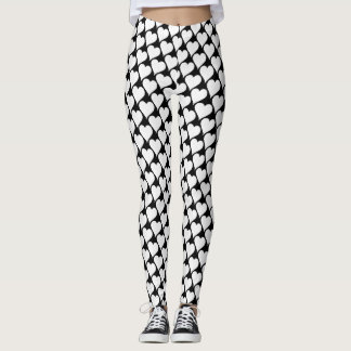 Leggings Black and white Hearts pattern