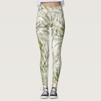 Leggings Blanco tropical del verde de musgo del follaje de