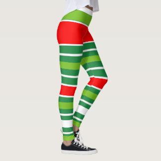 Leggings Blanco verde rojo del navidad tradicional (su