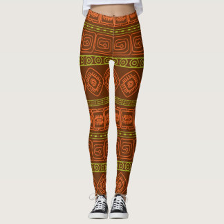 Leggings brown aztec pattern