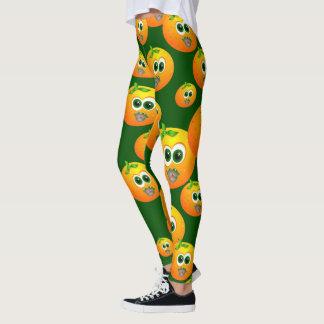 Leggings Caras con sabor a fruta de los naranjas del doodle