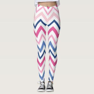 Leggings Chevron rosado y azul
