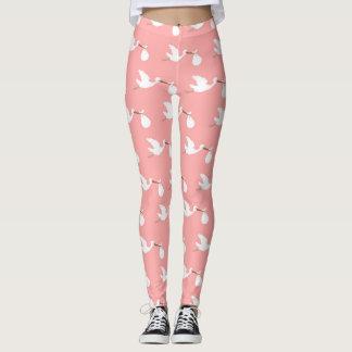 Leggings Cigüeña rosada y blanca que intenta concebir las