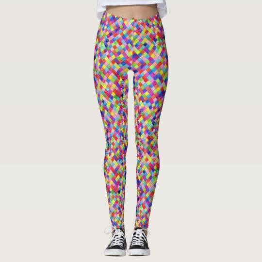 Leggings Colorido coloreado en cuadrados del papel