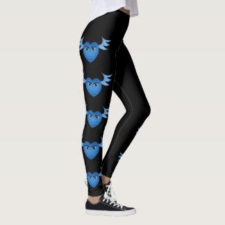 Leggings Corazón con alas azul divertido