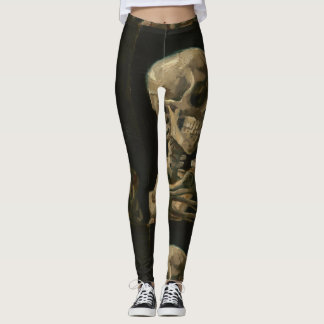Leggings Cráneo con el cigarrillo ardiente de Van Gogh