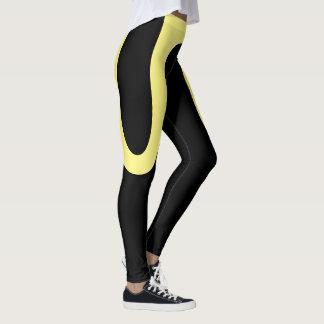 "Leggings ""Curvas clásicas"" negras/polainas amarillas"