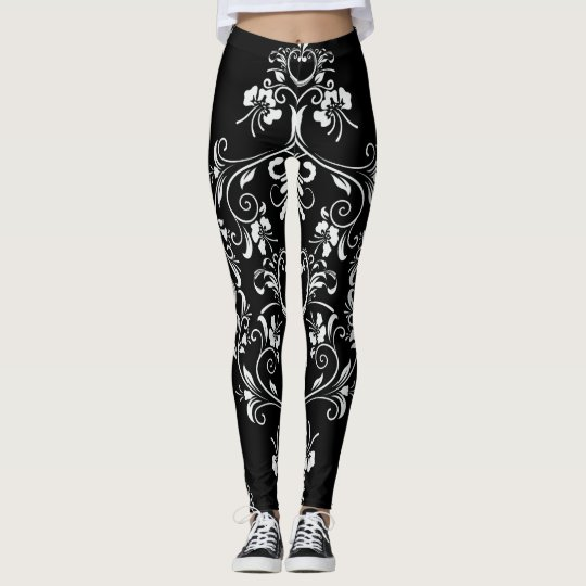 Leggings Damasco blanco y negro con clase