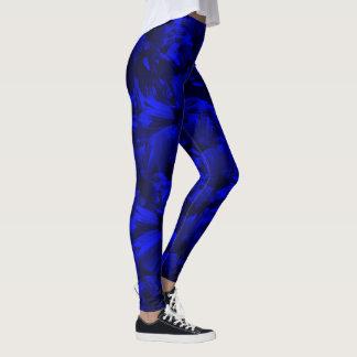 Leggings Diseño abstracto azul A202 y negro rico
