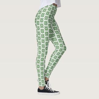 Leggings Diseño abstracto complejo del vintage verde