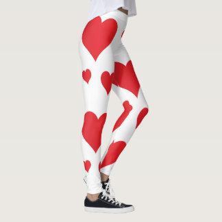Leggings Diseño asombroso estupendo de los corazones rojos