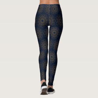Leggings Diseño azul con las curvas marrones