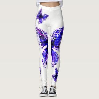 Leggings Diseño elegante azul del modelo de mariposa,