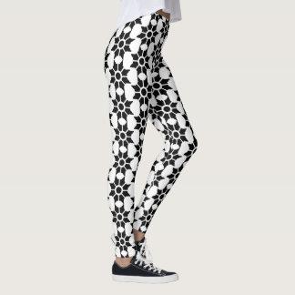 Leggings Diseño floral acentuado del extracto negro del
