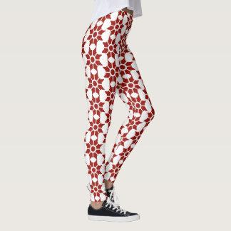 Leggings Diseño floral acentuado del extracto rojo del