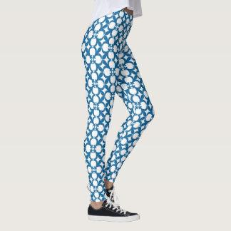 Leggings Diseño floral del extracto del vintage del azul de