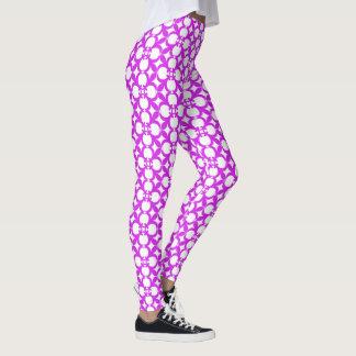 Leggings Diseño floral púrpura del extracto del vintage