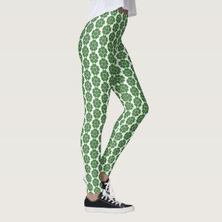 Leggings Diseño floral redondo del extracto verde del