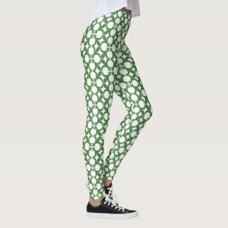 Leggings Diseño floral verde del extracto del vintage